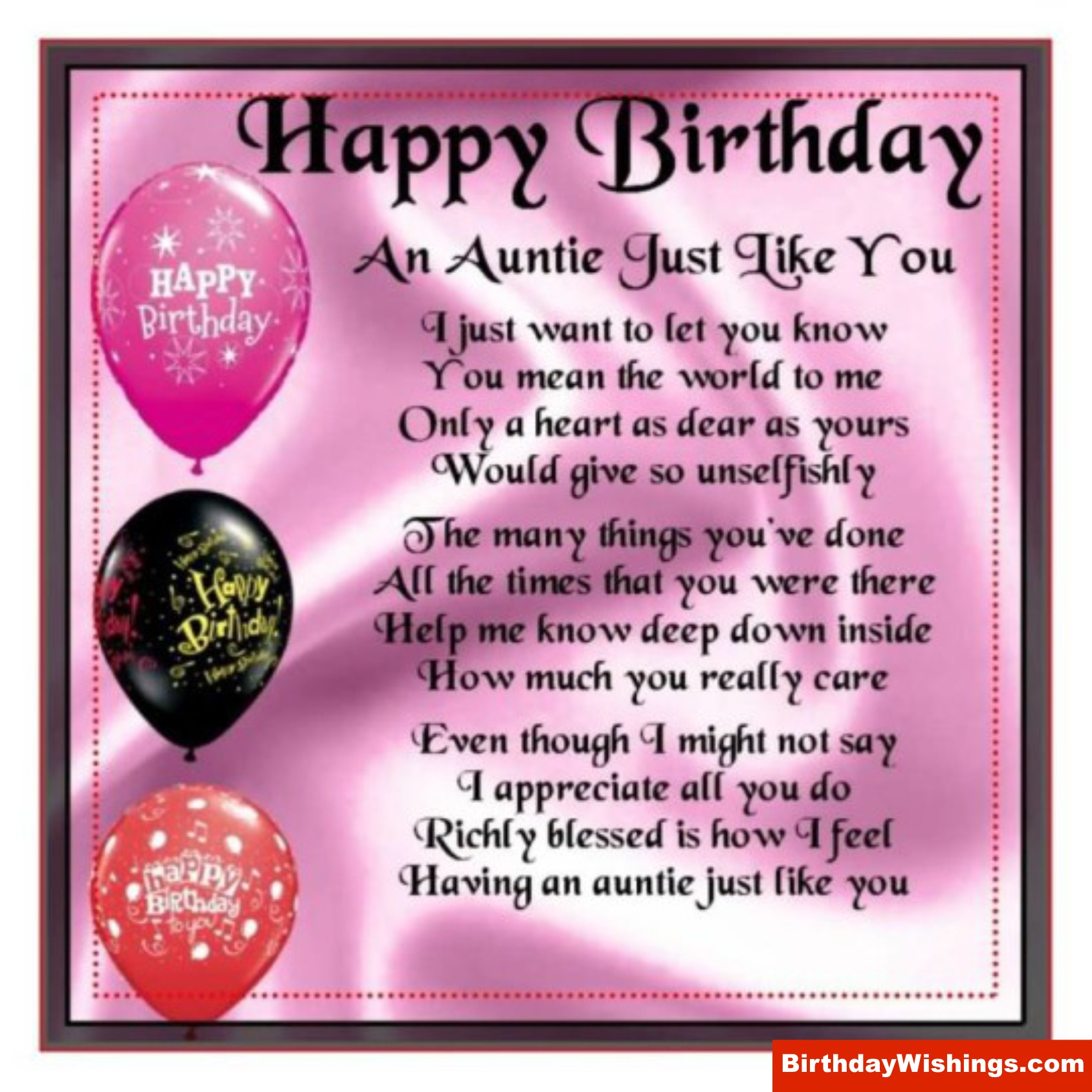 Wish A Happy Birthday To Your Aunt