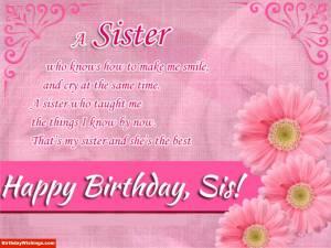 Birthday Poem For Sister