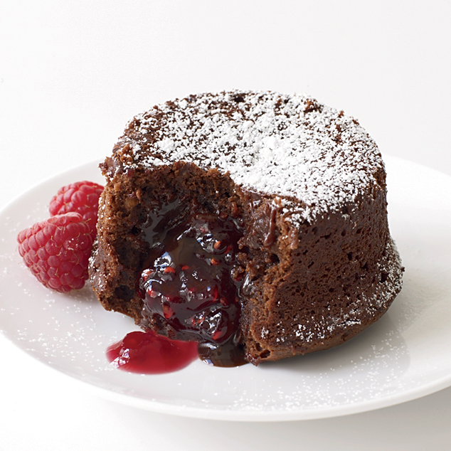 Molten Chocolate Cakes With Sugar-Coated Raspberries Recipe