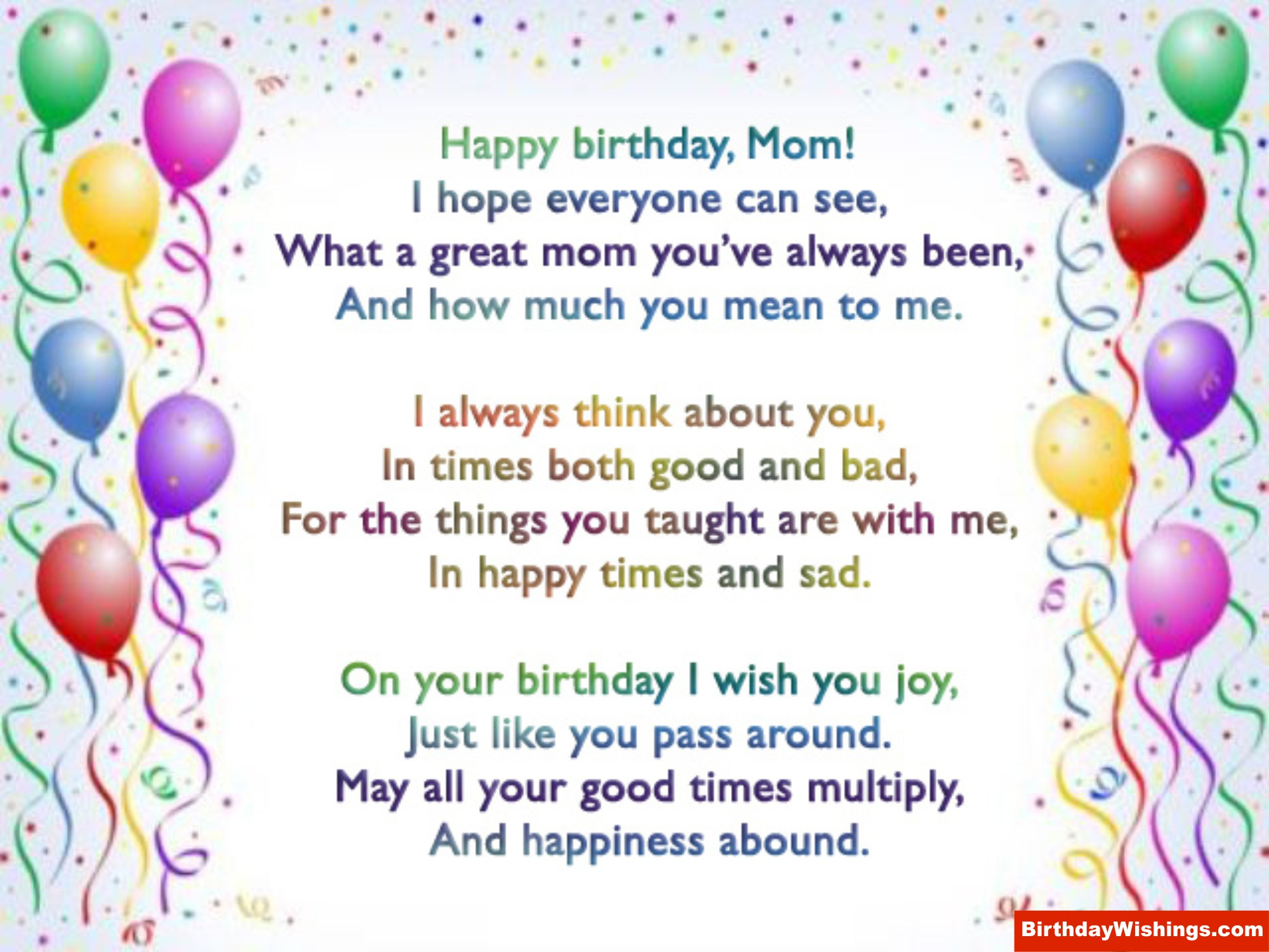 Happy Birthday Quotes Mom ~ Mom s birthday poem a for on her